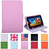 HDE® Tablet Case 7 Inch Universal Folio Leather Flip Cover - Pink
