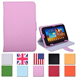 """HDE Universal 7"""" Leather Folding Folio Tablet Case Cover (Pink)"""