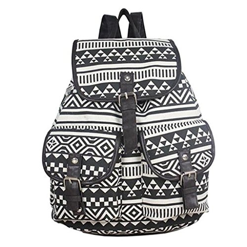 MONA Unisex Spacious Vintage Retro Floral Cute Backpack for School College Laptop Travelling Made up of Canvas & PU Leather with Adjustable Shoulder Straps Available in Black And white Unique Classy Design