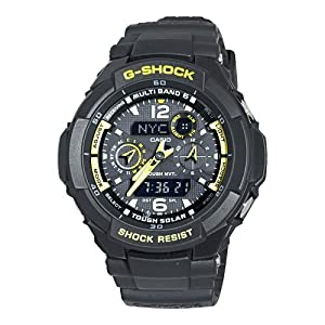 Casio Men's GW3500B-1A G-Shock Aviator Series Analog-Digital Black and Yellow Watch
