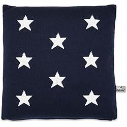 Baby's Only 911597 Kissen Dekokissen Sterne gestrickt mit Füllung, 40 x 40 cm, dunkel blau / weiß