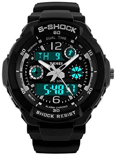 So vedere Unisex Orologio Sportivo Multifunzione Colorful Luce LED Digital S-Shock orologio da polso nero, Uomo, Black