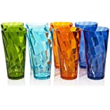 8pc Break-resistant Restaurant-quality SAN Plastic 26-ounce Iced Tea Cup Tumblers in 4 Assorted Colors