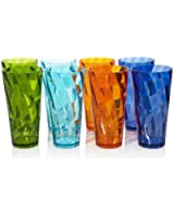 8pc Optix Break-resistant Restaurant-quality Plastic 26-ounce Iced Tea Cup Tumblers in 4 Assorted Colors