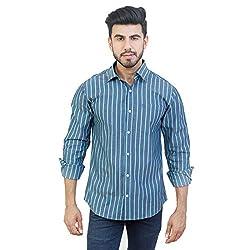 Solzo Slim Fit Grey Stripe Full Sleeve Casual Shirt (44, Grey)