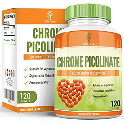 Chromium Picolinate, Potent Supplement that can Maintain Healthy Blood Sugar and Cholesterol Levels, Can Improve Glucose and Insulin Responses, Boosts Energy & Metabolism, 200 MCG - 120 Tablets