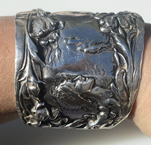 rare-antique-victorianart-nouveauwoman-solidsterling-silver-925-foster-bailey-goddess-lady-face-cuff
