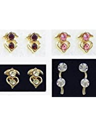 Four Pairs Of Multicolor Small Stone Setting Stud Earrings - Stone And Metal