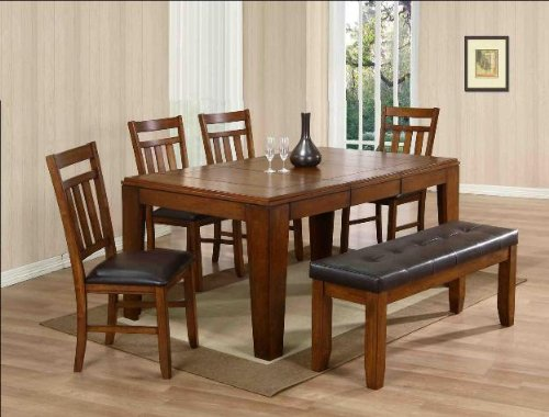 6PC Dining Table, Chairs, and Bench Set