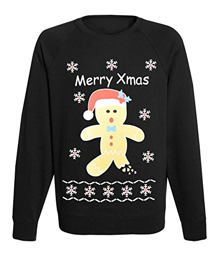 Womens-Ladies-Xmas-Novelty-Gingerbrad-Santa-Naughty-Christmas-Jumper-sweathsirt-Top