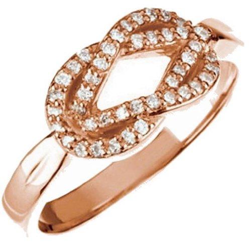 14K Rose Gold Diamond Love Knot Ring - 0.22 Ct. - Size 8