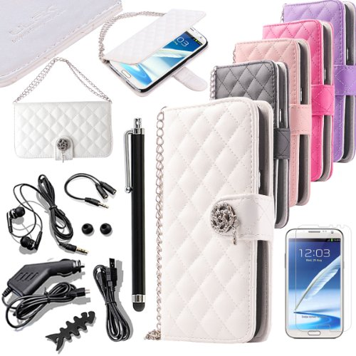 Pandamimi Ulak(Tm) Wristlet Wallet Card Holder Type Magnet Design Flip Case Cover For Samsung Note 2 N7100 With Screen Protector,Stylus,Usb Cable,Car Charger,Earphone Splitter Cable (1 In 2 Out),Fishbone Shape Earphone Cord Winder,Headphone,Headphone Tips