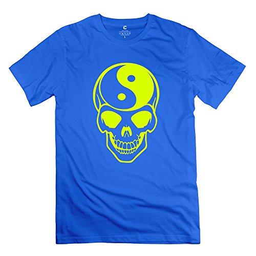Yongth Men'S Ying Yang Skeleton Skull Grinning 100% Cotton T-Shirt - Style T-Shirt Royalblue Us Size M