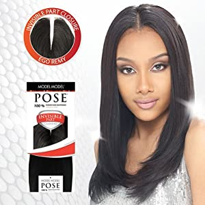 Model Model POSE Human Hair Mastermix - INVISIBLE PART CLOSURE 10'' #1B Off Black