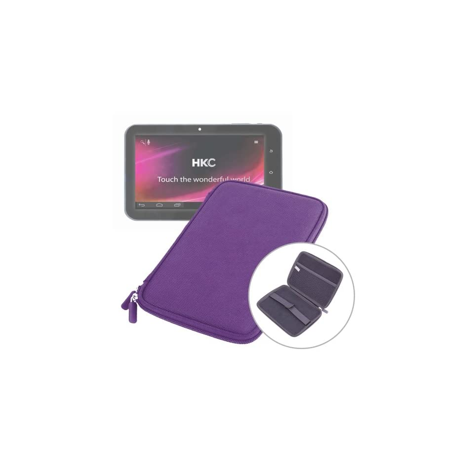 DURAGADGET 7 Rigid Purple Splash & Impact Resistant Zip Sleeve For HKC Clear Tablet P774A BBL IPS Screen with 16GB Memory and Google Mobile Services