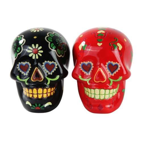 Day of Dead Sugar Black & Red Skulls Salt & Pepper Shakers
