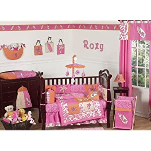 JoJo Designs Pink and Orange Surf Baby Bedding