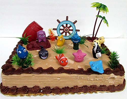 Under the Sea 17 Piece Birthday Cake Topper Set Featuring Figures and Decorative Themed Accessories (Shark Cake Topper compare prices)