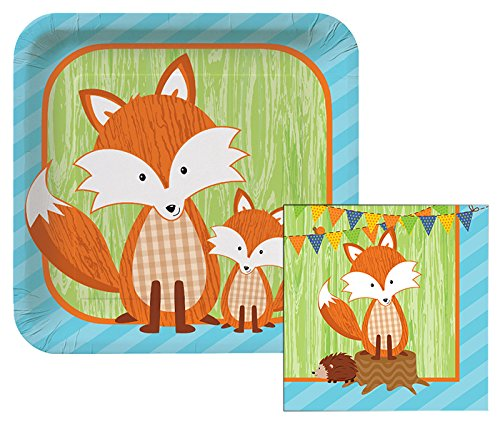 Forest Fox Themed Dessert Napkins & Plates Party Kit for 8