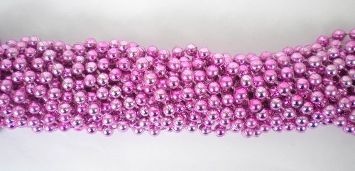 33 inch 7mm Round Metallic Pink Mardi Gras Beads - 6 Dozen (72 necklaces)