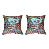MeSleep Digital Print Carnival 2 Piece Cushion Cover Set - Multicolor