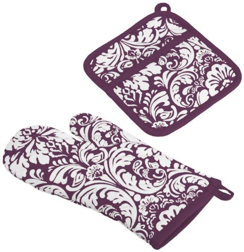 Dii 100% Cotton, Machine Washable, Everyday Kitchen Basic, Damask Printed Oven Mitt And Potholder Gift Set, Eggplant front-867339