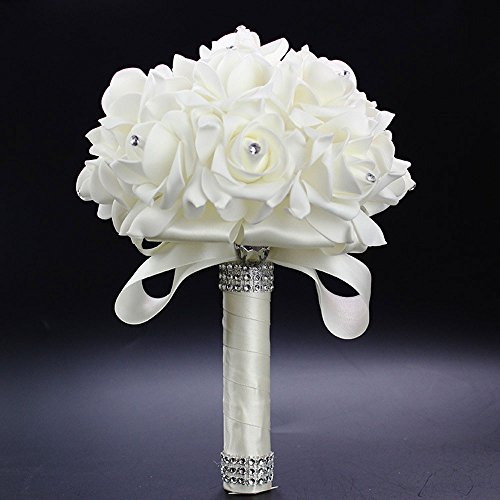 Febou Crystal Roses Pearl Bridesmaid Wedding Bouquet, Bridal Artificial Silk Flowers (Ivory)