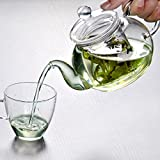 Soledi Practical Heat Resistant Glass Teapot Bottle Cup with Infuser Coffee Tea Leaf Herbal Coffee Shop Home Office Clear Glass Teapot 350ML
