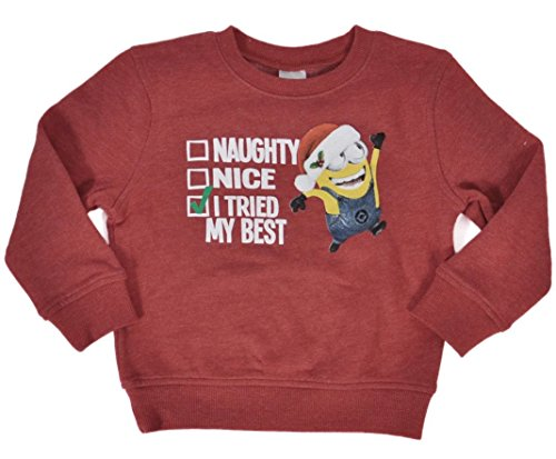 Despicable-Me-Minions-Toddler-Christmas-Sweatshirt-Red-Heather