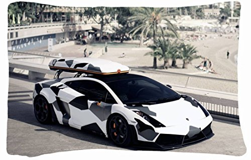 """Queen Size 50% Cotton & Polyester Custom Lamborghini Zippered Pillow Cases 20""""X30"""" (One Side) front-233895"""