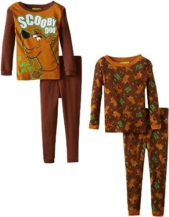 Komar Kids Little Boys' Scooby Doo 4 Piece Sleep Set, Brown, 2T