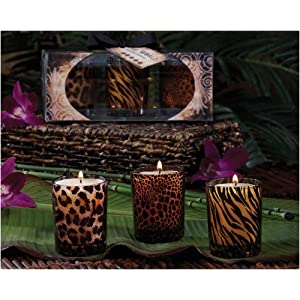 Club Pack of 18 Gardenia Scented Animal Print Glass  Filled Votive Candles