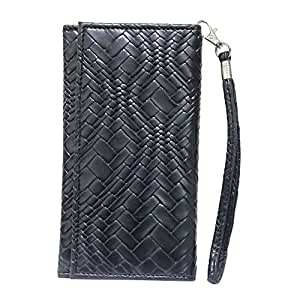 Jo Jo A5 Bali Leather Wallet Universal Pouch Cover Case For Micromax X55 Blade Black