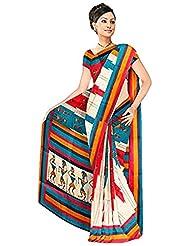 Vamika Bhagalpuri Silk Printed Saree (Cream)