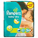 Pampers - Baby Dry - Couches Taille 4 Maxi (7-18 kg) - Pack économique 1 mois de consommation x174 couches