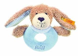 Steiff 238031 - Gute Nacht Hund Greifring 12 cm beige / blau