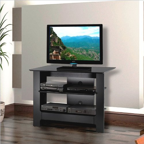 cheap tv stands for flat screens nexera 100206 pinnacle tall tv stand 31 inch black. Black Bedroom Furniture Sets. Home Design Ideas