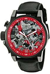 Invicta Men's 'I-Force' Quartz Stainless Steel and Black Leather Casual Watch (Model: 20543)