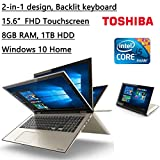 "Newest Toshiba 2-in-1 Satellite Fusion High Performance 15.6"" Full HD IPS Touchscreen Laptop, Intel Core i5-6200U, 2.3GHz, Backlit Keyboard,8GB RAM, 1TB HDD, WIFI, HDMI, Bluetooth, Windows 10 Home"