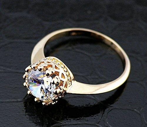 Slyq Jewelry 18K Rose Gold Plated Elegant Crown 1.Zircon Crownrings