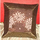 CRAFT OPTIONS SILK BROCADE WITH CENTRE FLOWER CUSHION COVER (BROWN COLOR)