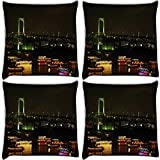 Snoogg City At Night Pack Of 4 Digitally Printed Cushion Cover Pillows 12 X 12 Inch