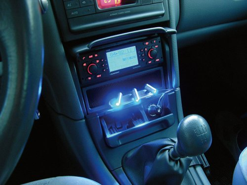Eufab 17234 LED-Beleuchtung Innen, blau, 12 V für Zigarettenanzünder mit Schalter, Klebepad