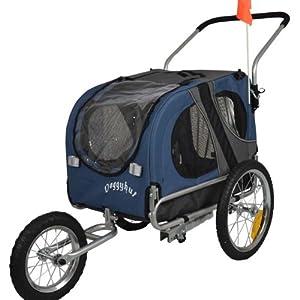 Doggyhut Medium Pet Dog Bicycle Trailer & Jogging Stroller in Blue Inside Dimensions 68x43.4x51cm