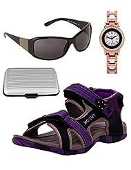 Fuzion Women's Black & Purple Women Sandal, Women Sunglass, Card Holder & Optima Watch Combo