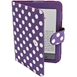 Purple White Small POLKA DOT DOTs Mini Spot Luxury/ Premium PU LEATHER CASE COVER WALLET BAG PROTECTOR SKIN FOR 6