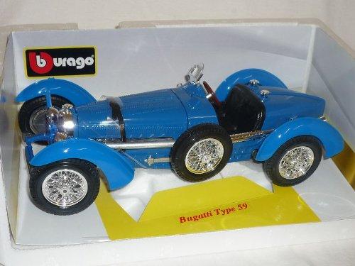Bugatti-Type-59-Blau-118-121-Bburago-Burago-Modellauto-Modell-Auto