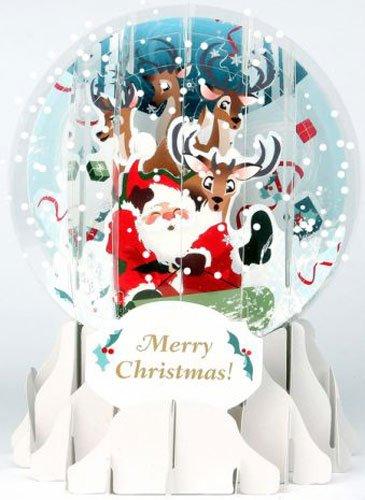 Sledding Santa Snow Globe - Up With Paper Pop-Up Christmas Card