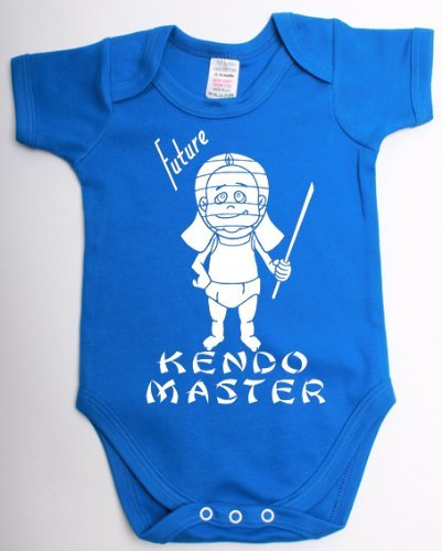 Future Kendo Master Funny Japanese Martial Arts Babygrow Suit Unique Baby Shower Gift Baby Vest Clothes- 6/12 Royal Blue - White Print
