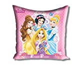 "Disney Princess Filled Small Satin Polyester Cushion - 12""x12"", Pink"
